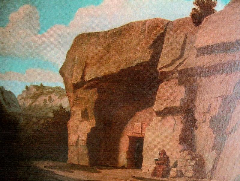 Saint Antoine Ermite représenté devant la Grotte du Fournet dite de la Madeleine (livre de Jean-Luc Robin sur RLC)