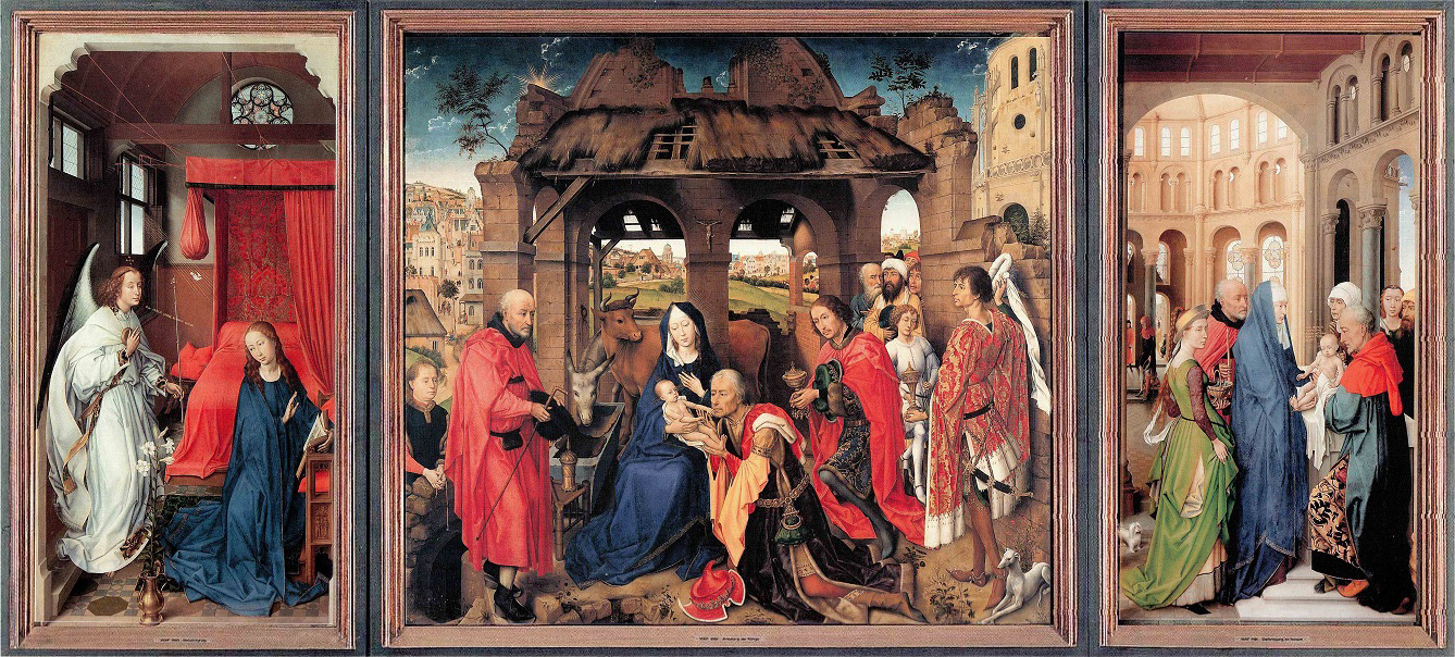 Triptyque Les Rois Mages (Three Kings Altar) / Sainte Colombe, peint par VAN DER WEYDEN, en 1455